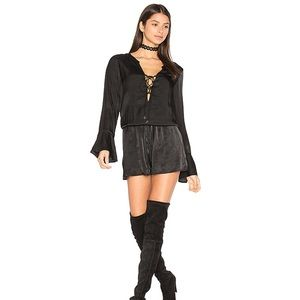 The Jetset Diaries Vespero Lace-Up Romper in Black
